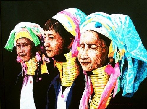 """Titre """"Padaung People N°4"""" (2015) / 122 cm x 91 cm / Peinture à l'acrylique sur toile / Prix: 5800€"""