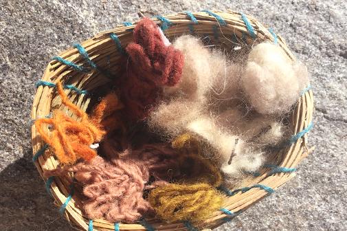 Geflochtenes Körbchen mit roher und gesponnener Wolle in Naturfarben.