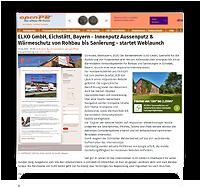 Grafik: Webscreen Presseportal OPENPR - Pressemitteilung von ELKO GmbH, Eichstätt, Bayern | Innenputz & Außenputz, Wärmeschutz