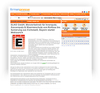 Grafik: Webscreen Presseportal Firmenpresse - Pressemitteilung von ELKO GmbH, Eichstätt, Bayern | Innenputz & Außenputz, Wärmeschutz