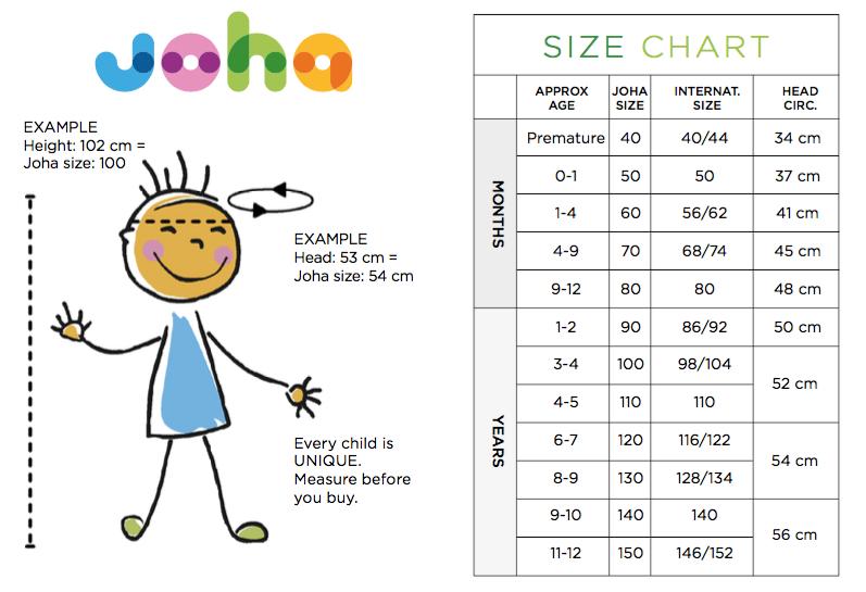 Guide des tailles enfant bébé Joha
