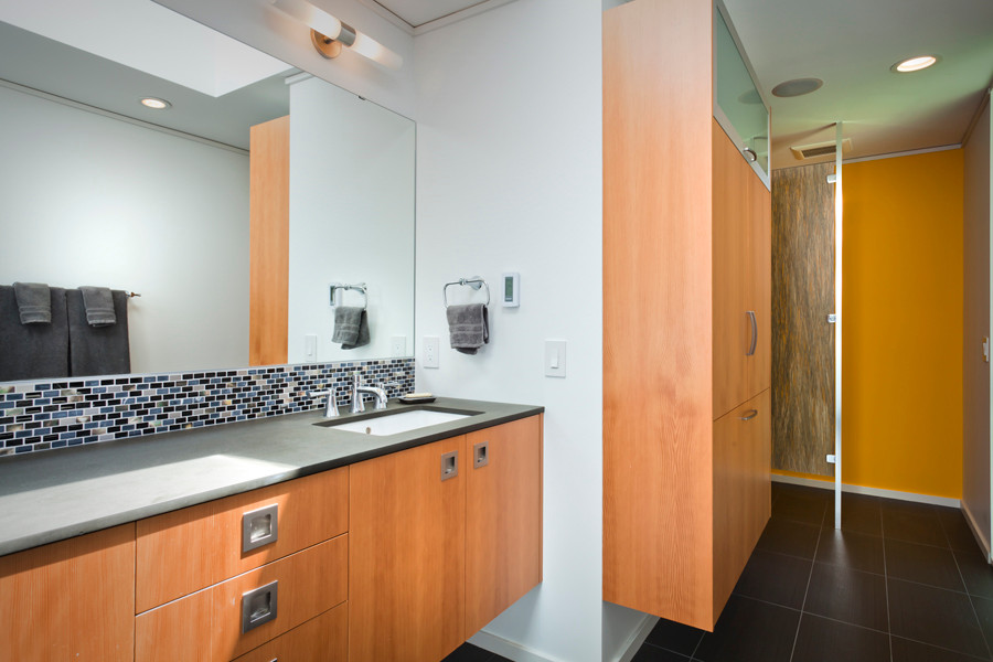 Fredrickson Nagle House: Tile backsplash, paperstone counters and a resin coated privacy screen with buffalo grass make this a  unique bathroom.