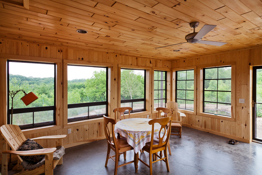 Owens-Pike Net Zero Energy Home: A screened in porch with operable screens is nice to have during a midwest mosquito laden summer.