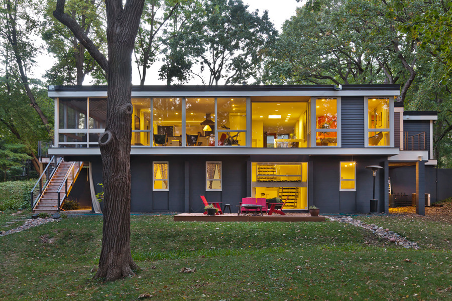 Fredrickson Nagle House: A warm glow inside and out. New decks on each end.