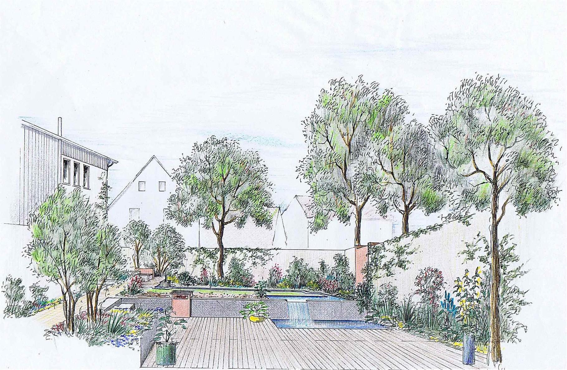 Hausgarten, colorierte Ansicht