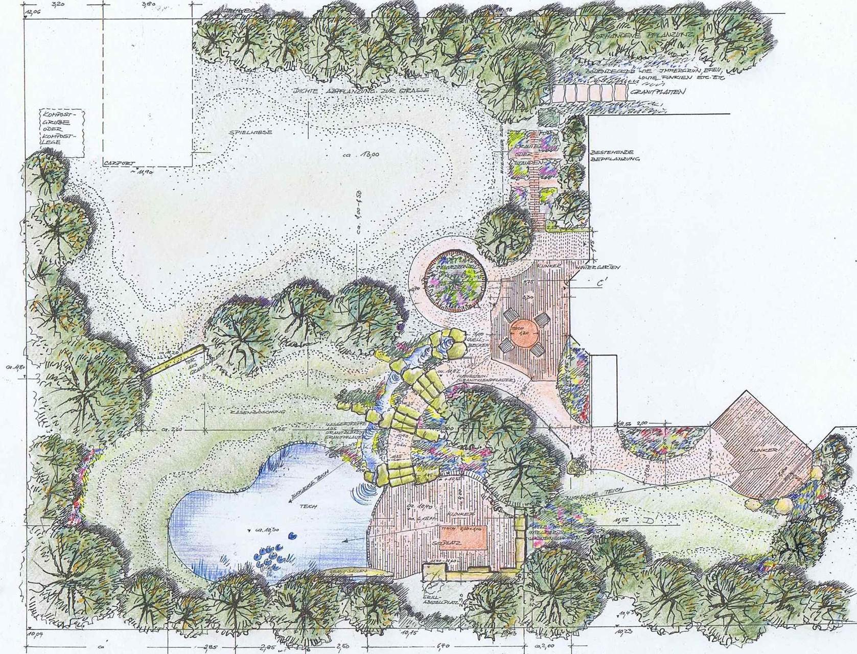 Hausgartenplanung, colorierter Entwurf