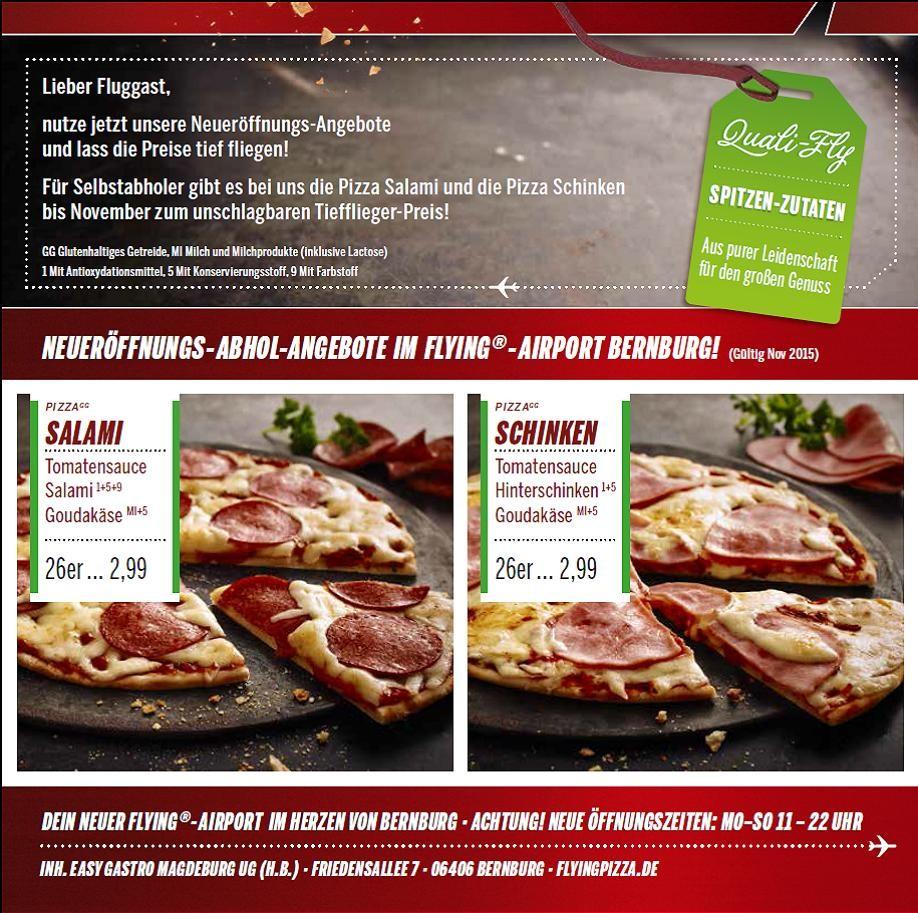 Flying Pizza Karte.Flying Pizza Bernburg Rabatte Angebote Neuer Standort