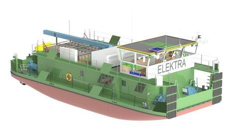 Computerrendering des ELEKTRA-Schubbootes © EBMS-TUB