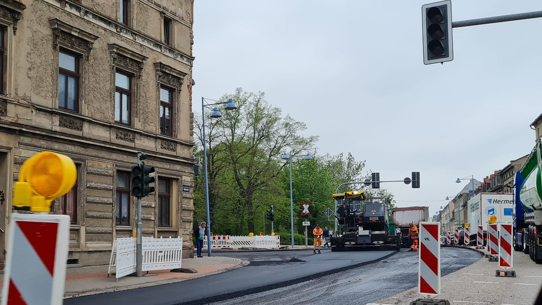 Straßenbauarbeiten in der Bahnhofstraße Bernburg