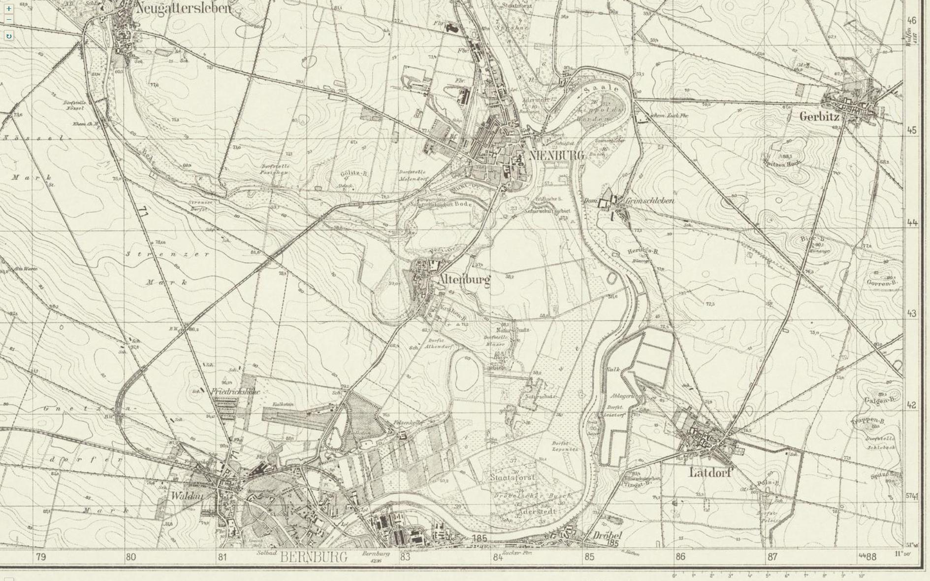 Kartenausschnitt Saaleverlauf Bernburg