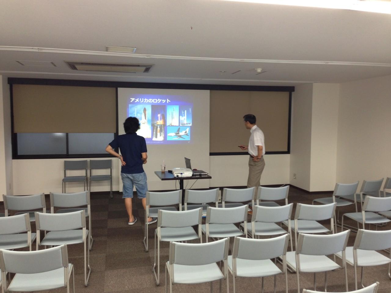 リハーサル中の九州大学平山先生と吉岡先生