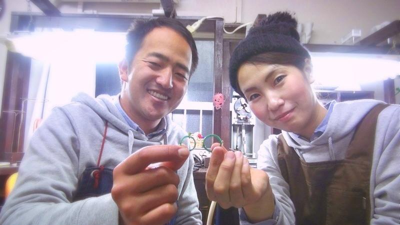 完成した手作り結婚指輪