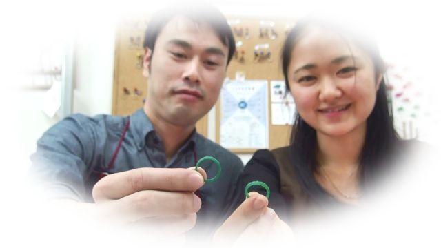 完成した結婚指輪の原型ワックス