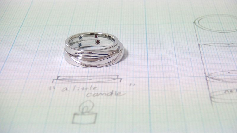 Pt900手作り結婚指輪「a little candle」