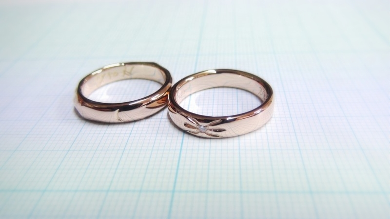 K18PG手作り結婚指輪「太陽と月」