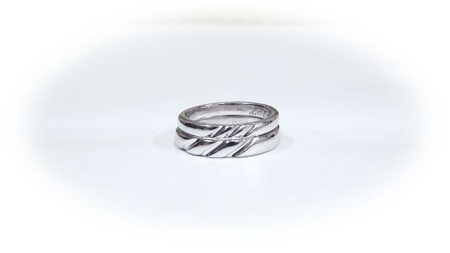 K18WG手作り結婚指輪「川の流れ」