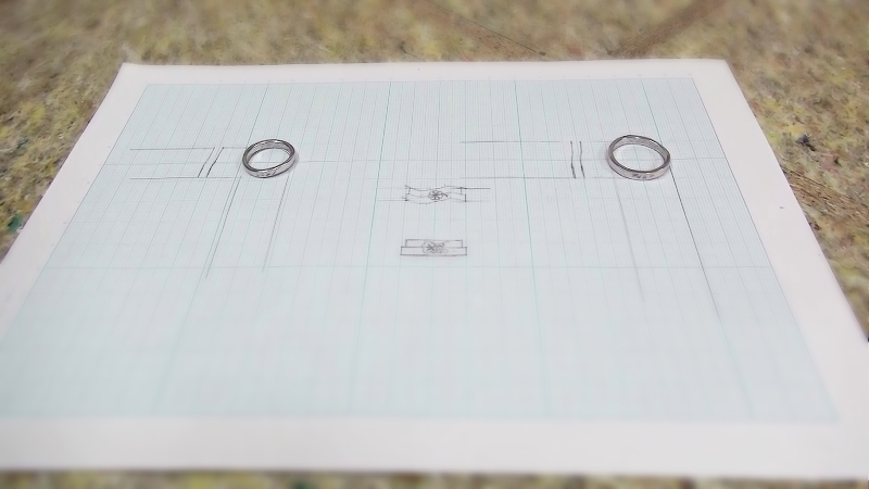 Pt900手作り結婚指輪「7つ葉クローバー」