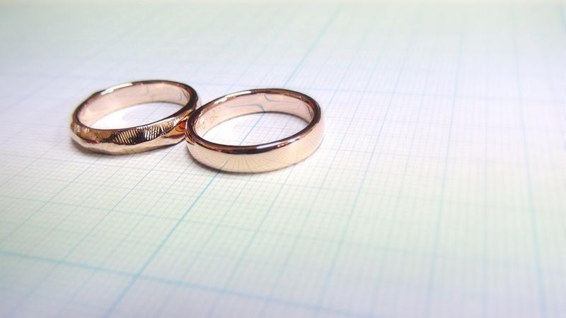 K18PG手作り結婚指輪「月と太陽」