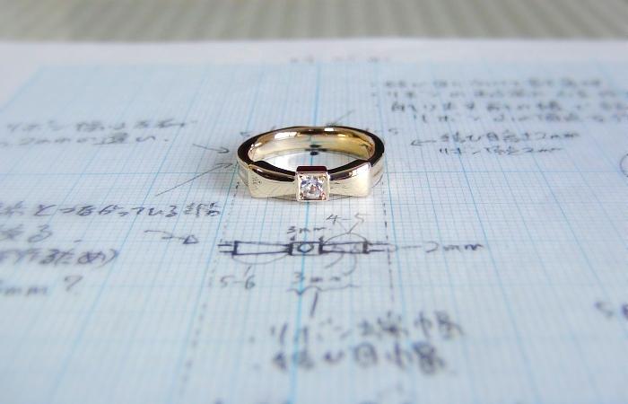 誕生石入りの手作り婚約指輪