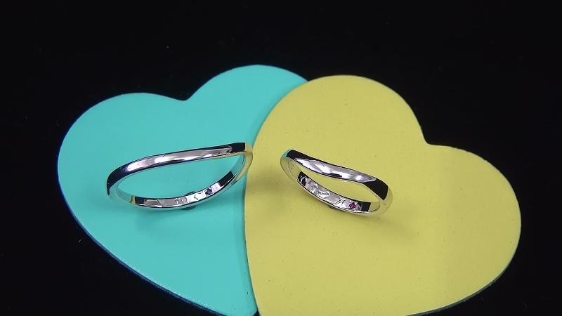 Pt900手作り結婚指輪「カーブ」