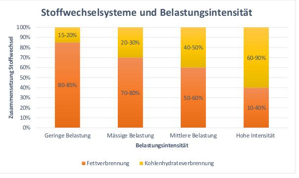 Graphik Stoffwechselsysteme und Belastungsintensität