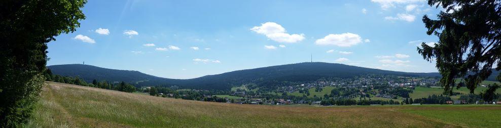 Panorama Schneeberg, Ochsenkopf mit Bischofsgrün