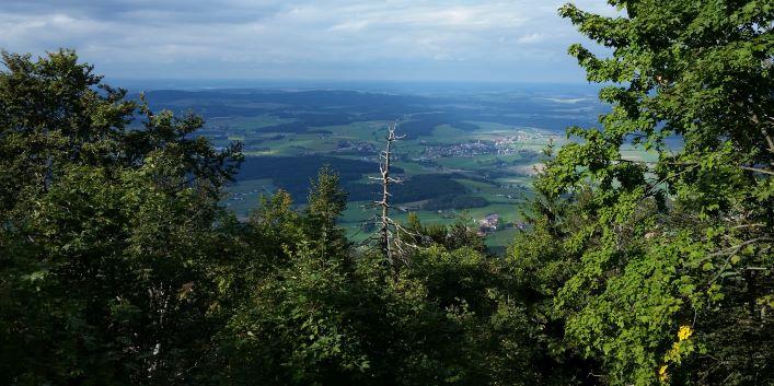 Blick vom Burgstall nach Norden auf dem Hohen Bogen