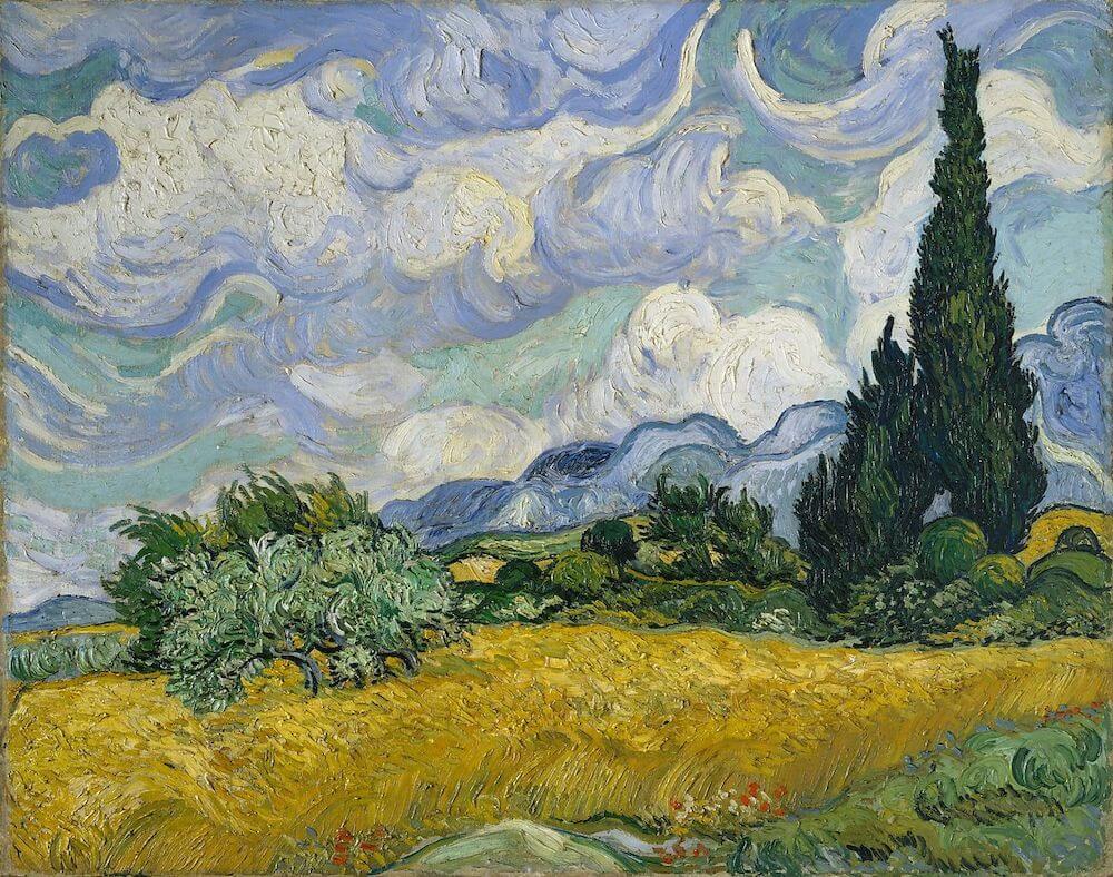 Пшеничное поле с кипарисами - Винcент Ван Гог