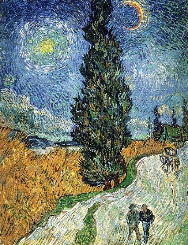 Дорога с кипарисом и звездой - Винсент Ван Гог