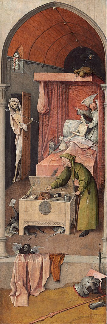 Смерть скупца - Иероним Босх. Известные картины Босха