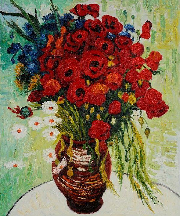 Ваза с ромашками и красными маками - Винсент Ван Гог