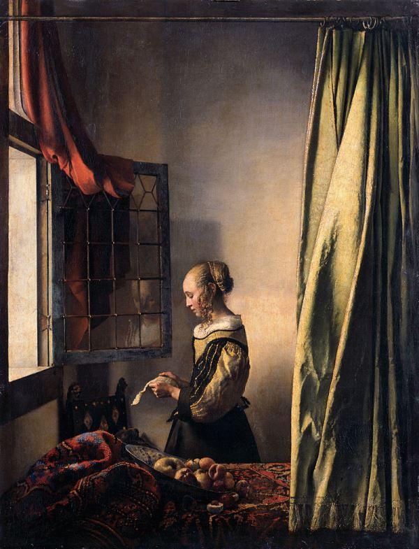 Девушка, читающая письмо у открытого окна - Вермеер