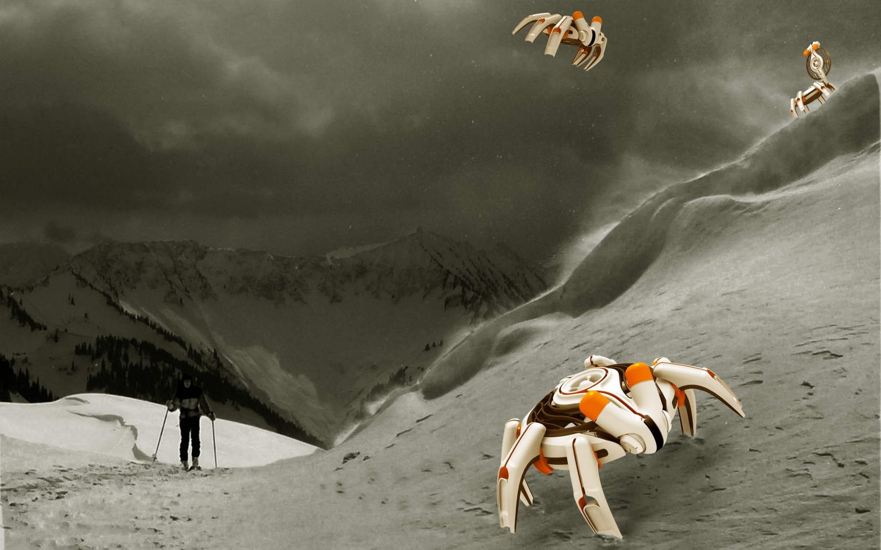 DESIGNSTUDIE // FJUI // Bergrettungsdrone // Diese Konzeptstudie 2008 dient renommierten Forschungszentren als Inspiration für die Entwicklung zukünftiger Rettungsdronen und Dronen zum scannen des Schneedeckenaufbaus.