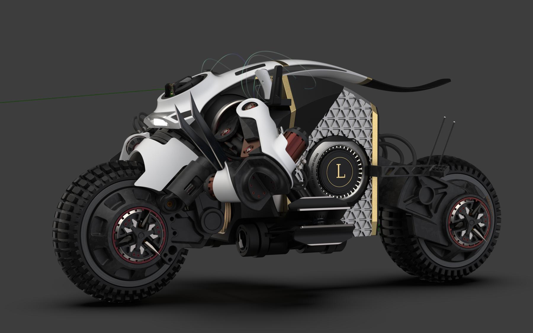 3D ART // Motorraddesign für einen verrückten Sci Fi Film.