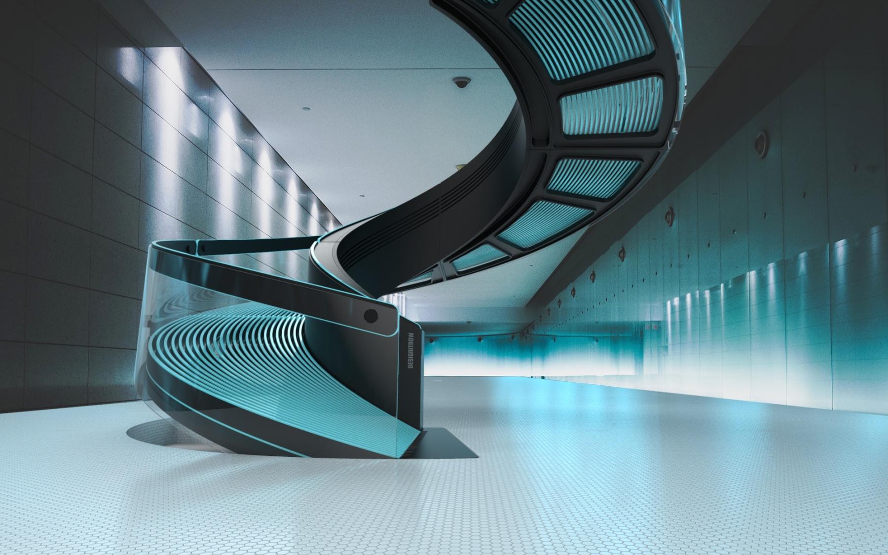 DESIGNSTUDIE // ROLLTREPPE // Wie wär das? Eine Rolltreppe als Wendeltreppe?