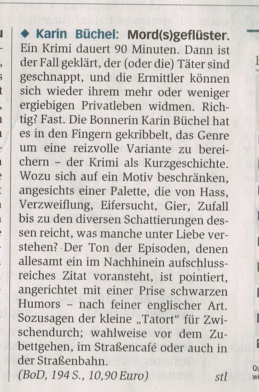"""Generalanzeiger, Rezension von """"Mord(s)geflüster"""", 2015"""