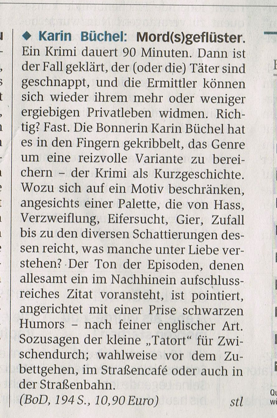 """General-Anzeiger, Rezension von """"Mord(s)geflüster"""", 2015"""