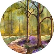 Inspiration - Frühlingswald mit Krokussen in Aquarell malen - DIY