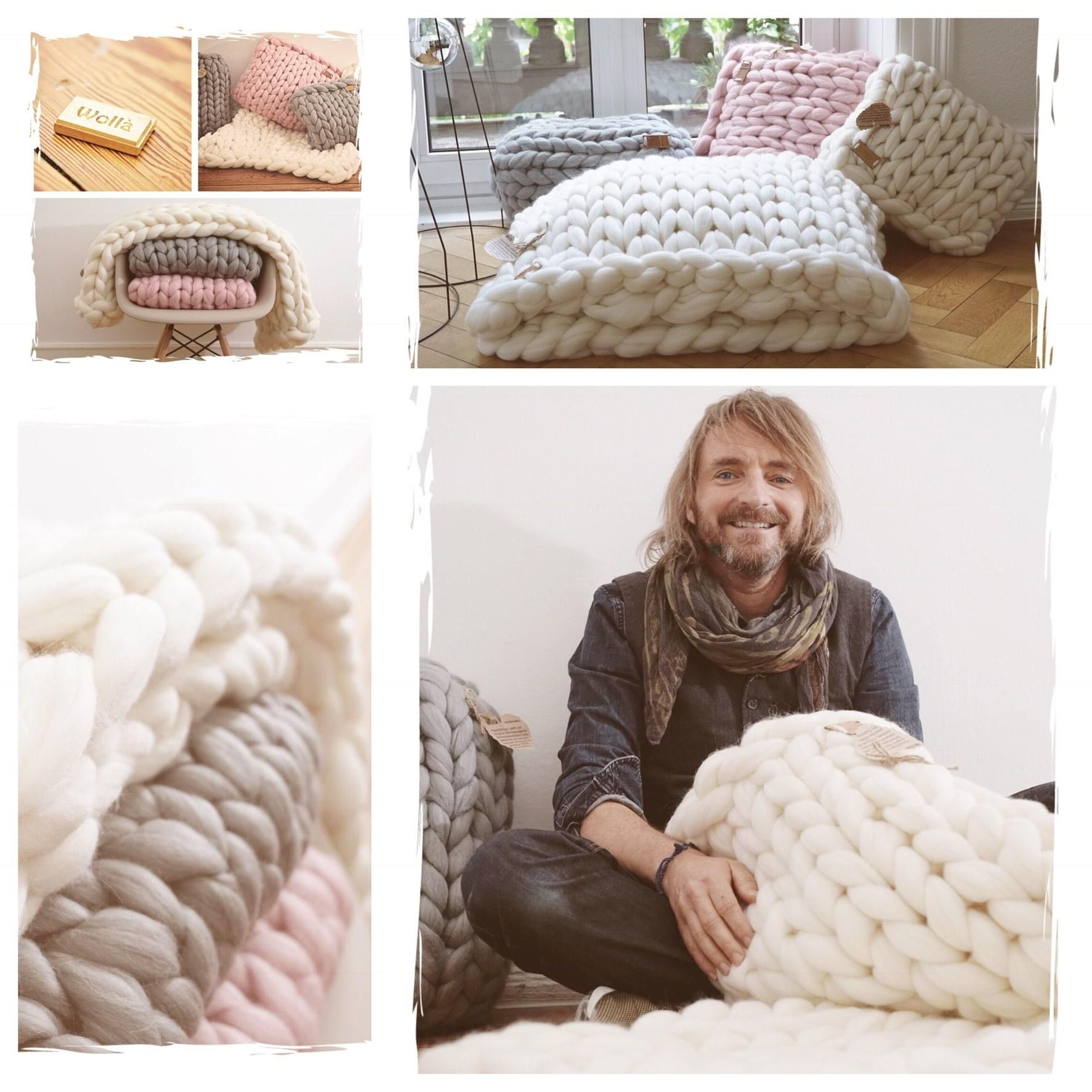 handgestrickte decken kissen aus kuscheliger xxl. Black Bedroom Furniture Sets. Home Design Ideas