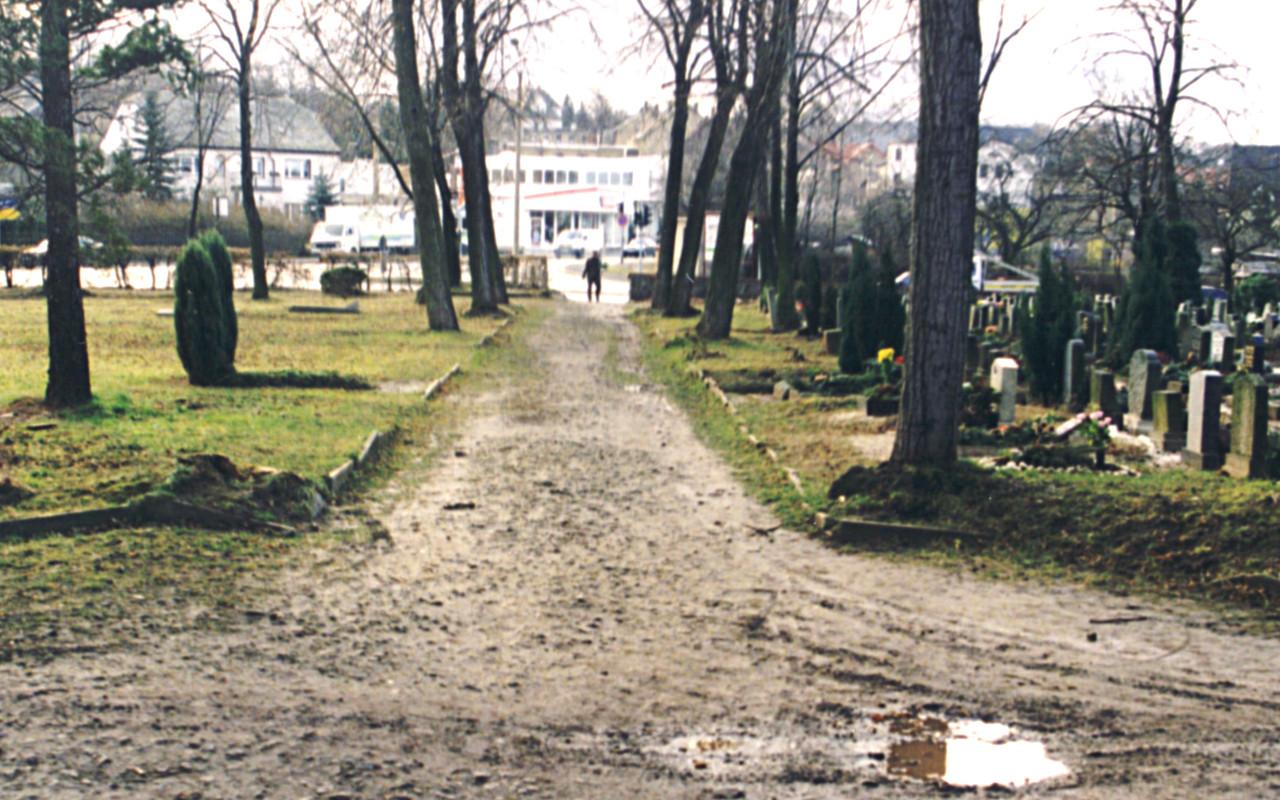 Blick auf die Kreuzung Cainsdorfer-/ Lengenfelder Straße,  Februar 1998