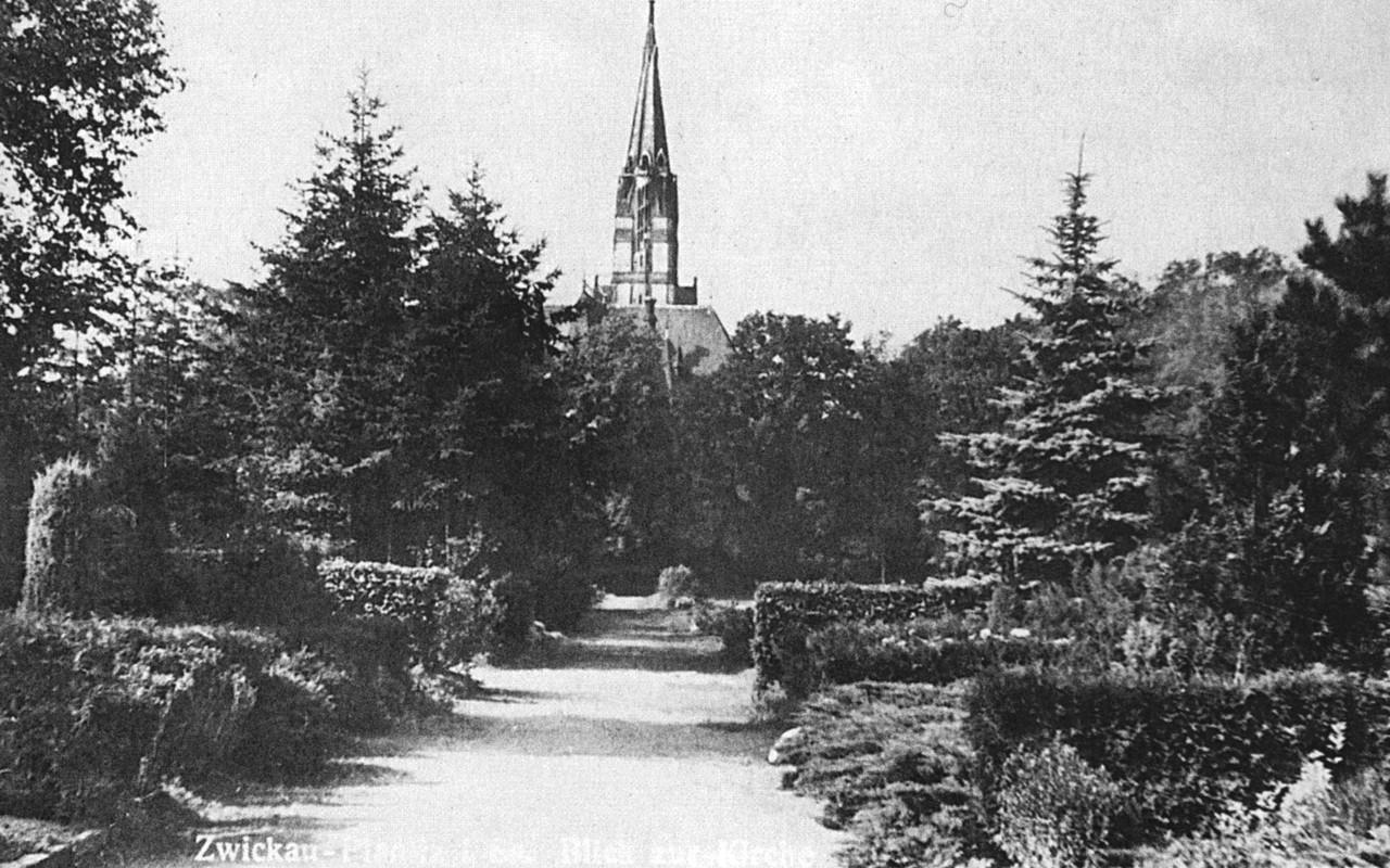 Friedhof Planitz l  Blick auf Lukaskirche um 1936