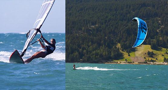 Trendsportarten auf dem Reschensee im Vinschgau am Reschenpass: Kitesufen und Windsufen im herrlichen Gletscherwasser des Reschensees