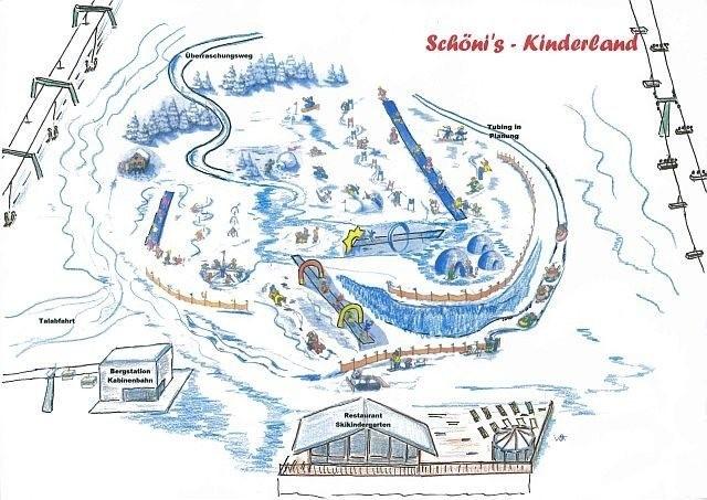 Kinderland im Skigebiet Schöneben im Vinschgau am Reschenpass, Südtirol. Ideal für Familien im Skiurlaub bei Nauders.