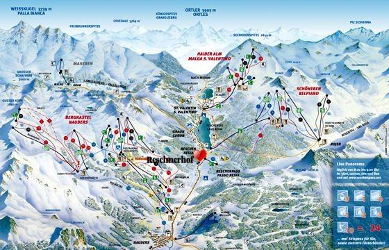 Pistenplan Skigebiet Reschenpass - Nauders und Reschen im Vinschgau. Das Hotel Reschnerhof in Reschen am Reschenpass liegt mitten im Skigebiet im oberen Vinschgau.