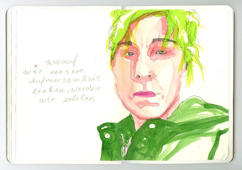 Sketchbook Petra Jäger Portrait Frau in Rosa und Grün