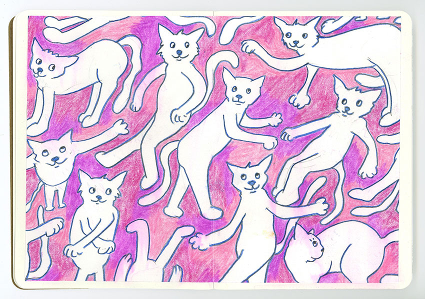 Sketchbook Petra Jäger tanzende Katzen auf pink-farbenem Hintergrund