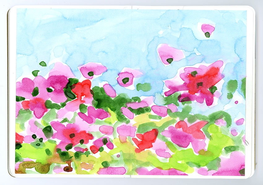 Sketchbook Petra Jäger Aquarell mit Blumenwiese abstrakt
