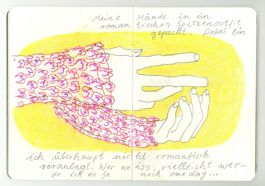 Sketchbook Petra Jäger Hände T-Shirt mit Spitzendekor