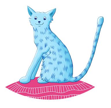 Katze mit blauem Fell sitzt auf pinkfarbenem Kissen Bilderbuch Charakter Kater Fläz von Petra Jäger Illustration