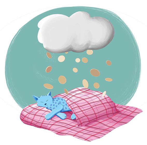 Blaue Katze schläft auf pinkfarbener Decke unter Wolke mit Geldregen von Petra Jäger Illustration